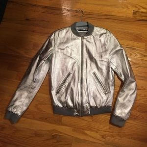 NWOT BLK DNM silver leather jacket
